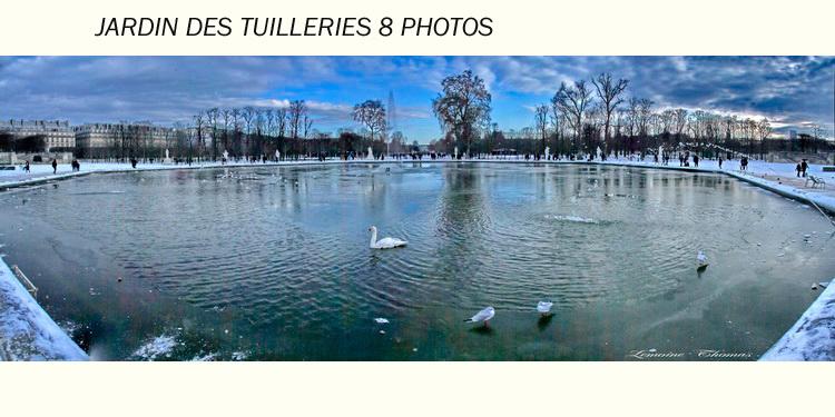 PANNO DE 8 PHOTOS DE L' ETANG DU JARDIN DES TUILLERIES A PARIS