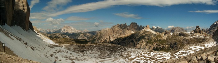 Panorama Bild von den Drei Zinnen, Blick Richtung Nord