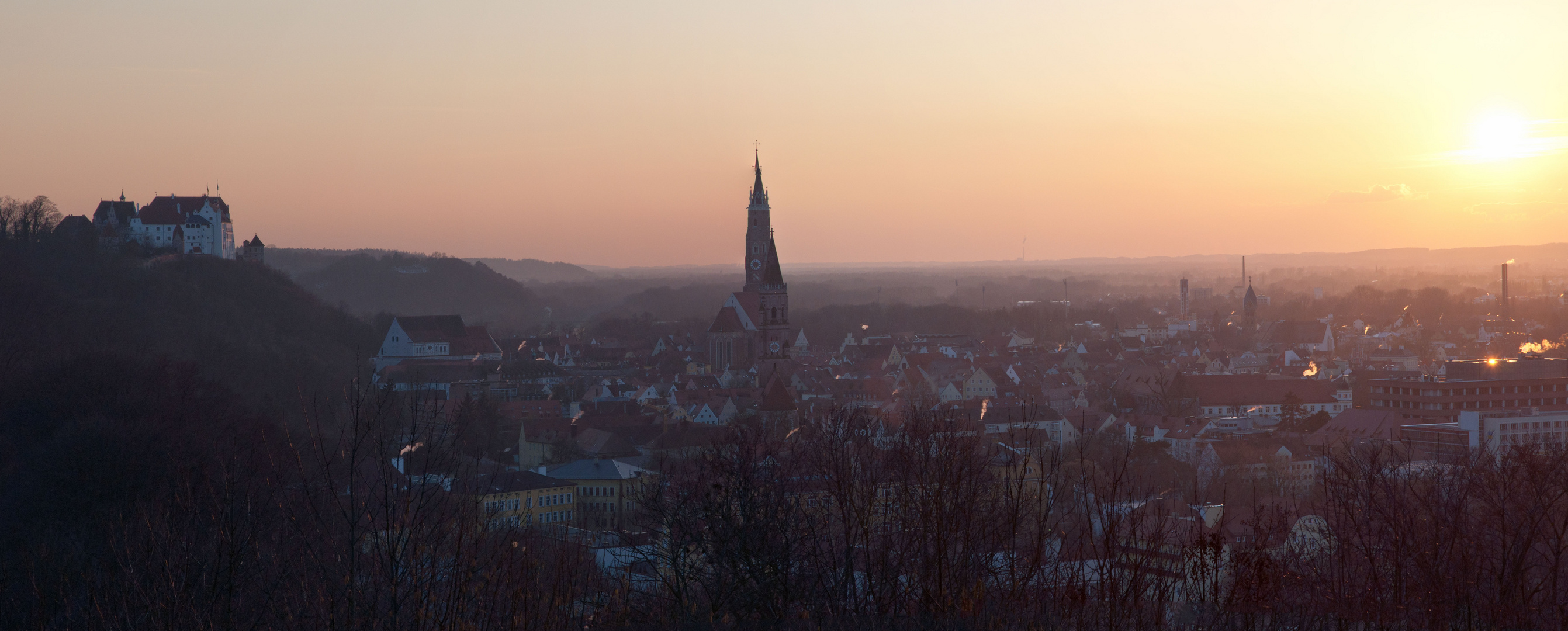 Panorama Landshut bei Sonnenuntergang
