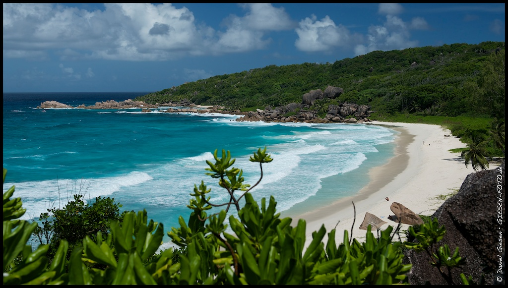 Panorama of Grand Anse, La Digue Island, Seychelles