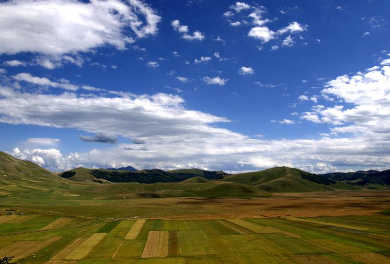 panorama sul Pian Grande- i campi di Castelluccio-