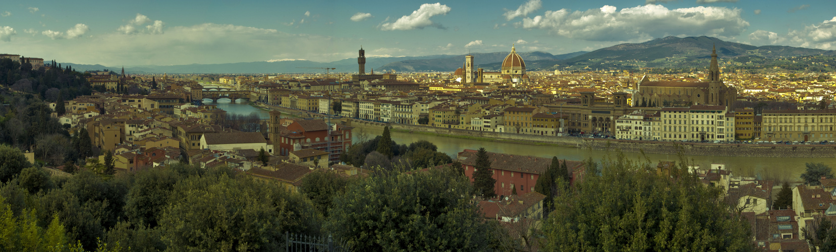 Panorama View Over Florence With The River Arno