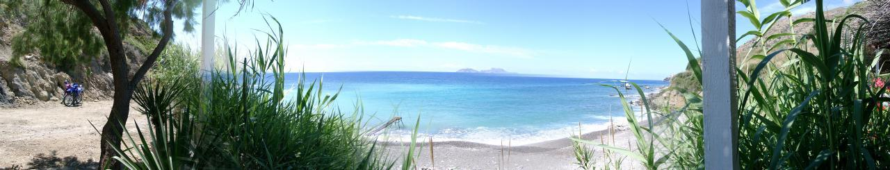 Panorama von Georgios Beach auf Kreta