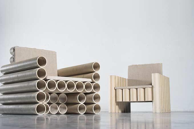 paper tube chair by Manfred Kielnhofer