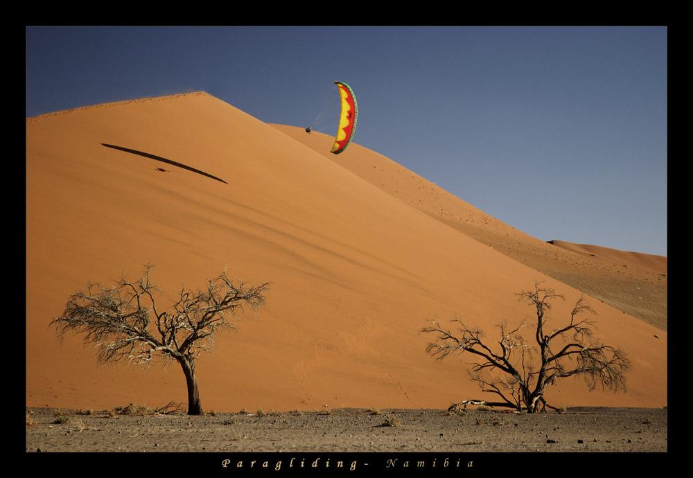 Paragleiten in den Dünen Namibia