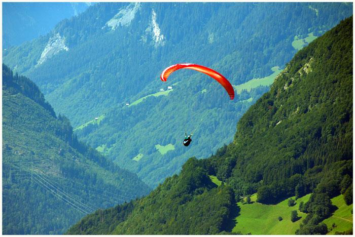 Paraglider über dem St. Galler Rheintal