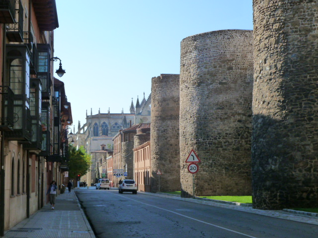 Part of the old city walls and the back of Leon Cathedral