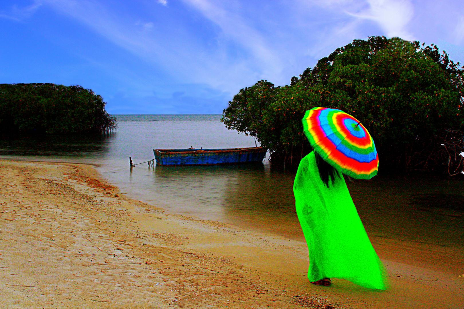 pasarela en la playa