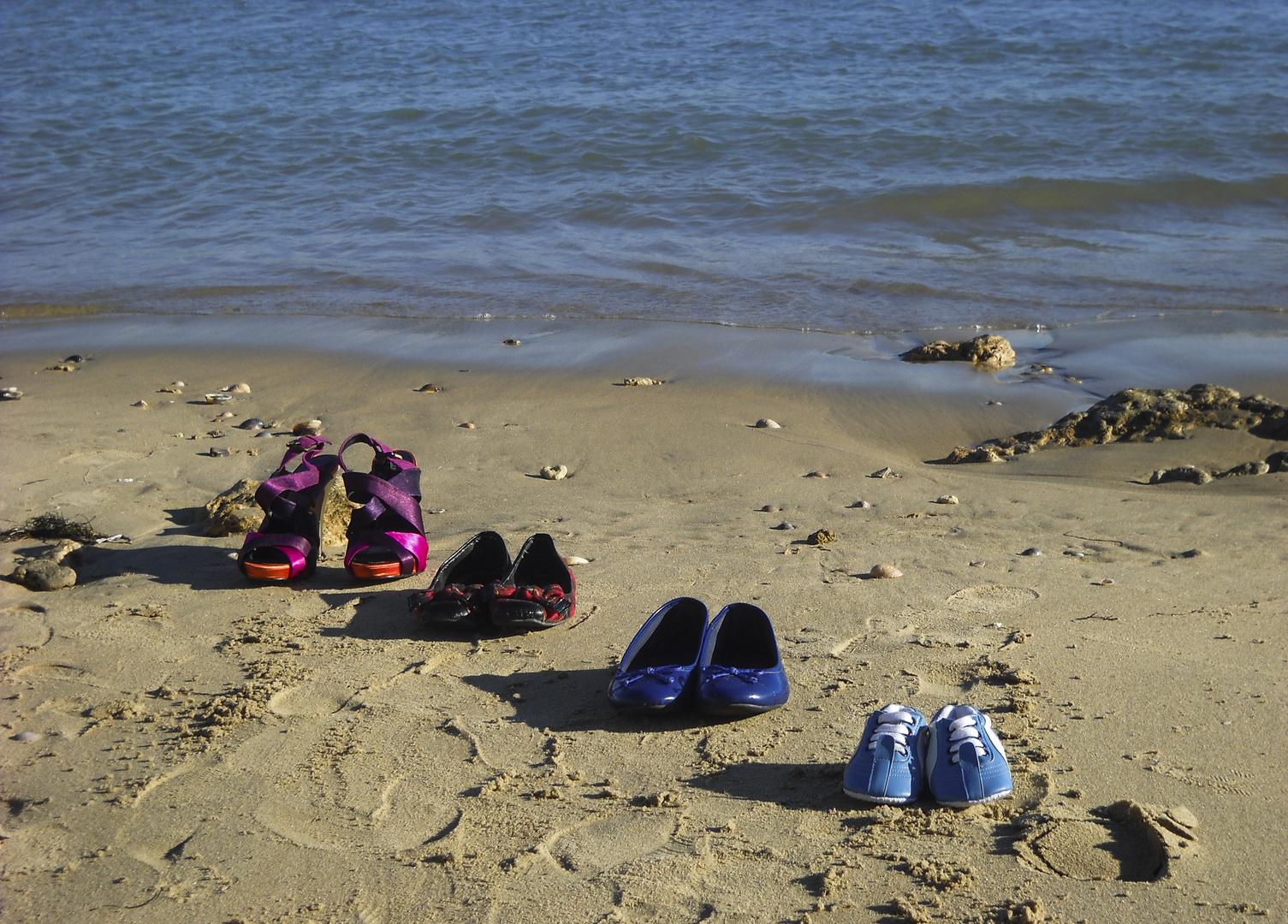 Pasos en la playa