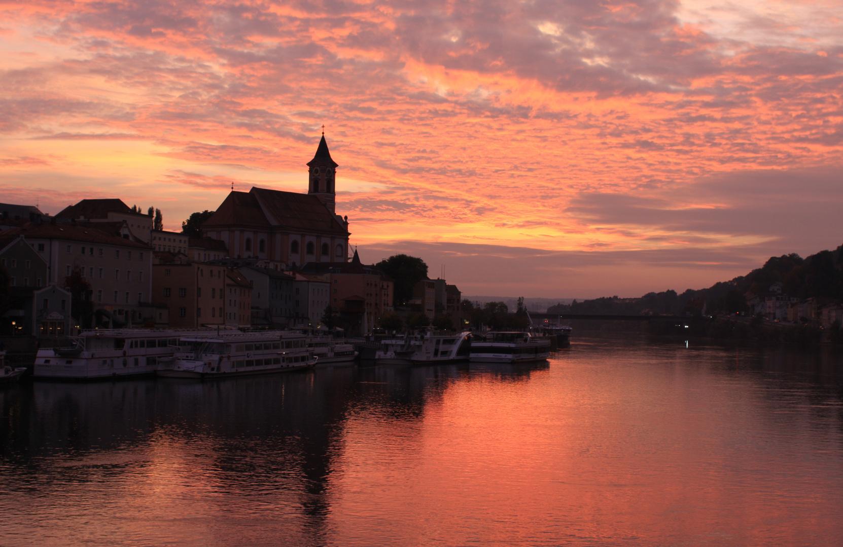 Passau bei Sonneruntegang
