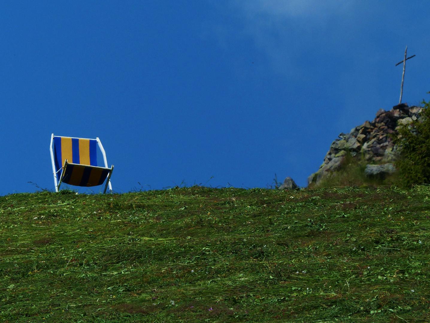 Pause vor dem Anstieg zum Gipfelkreuz......