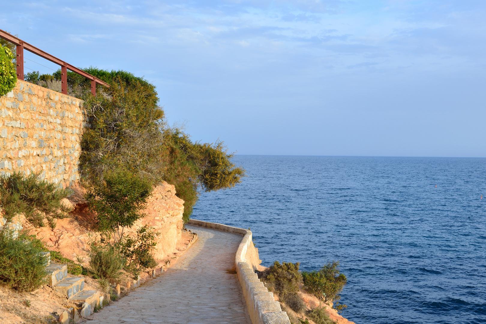 Paved coastal walkway on a summer evening