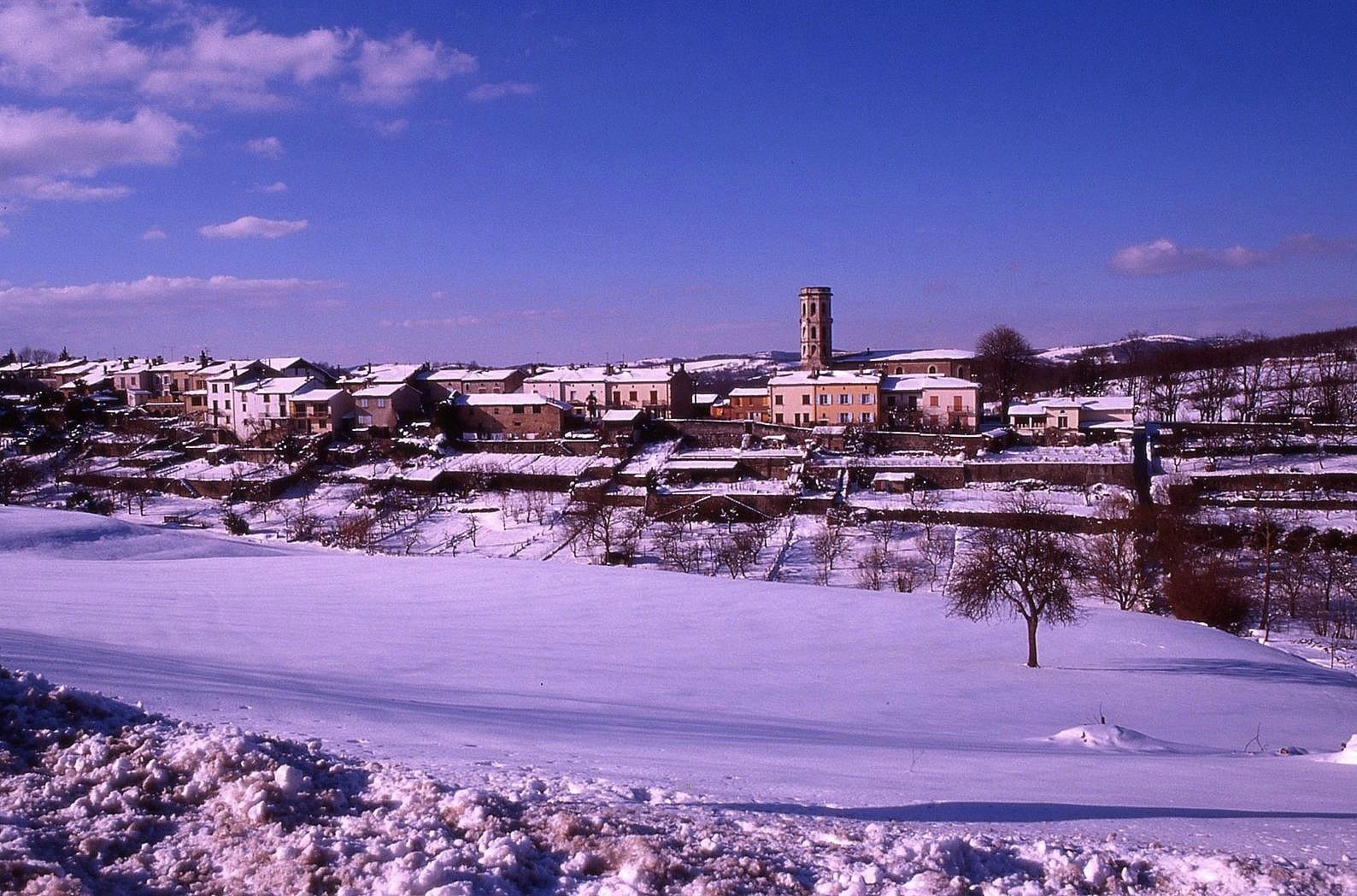 Paysage pyrénéen sous la neige