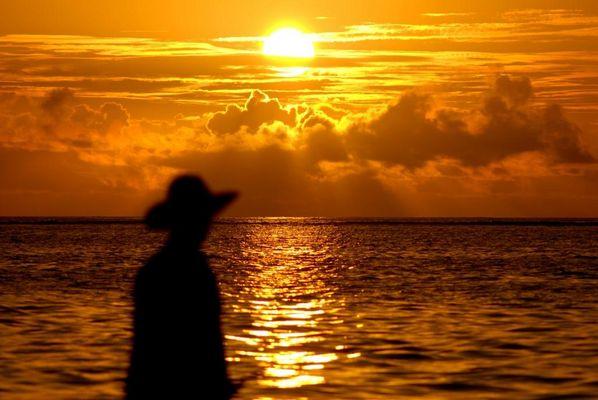 pêche au couché du soleil