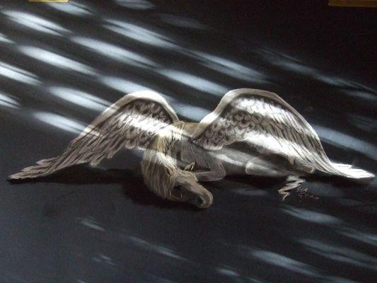 Pegasus gemalt mit Pastellkreide