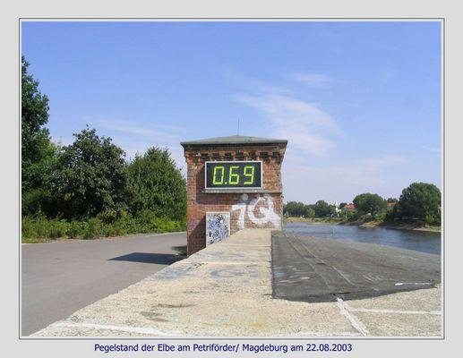 Pegelstand Elbe am Petriförder in Magdeburg am 22.08.2003