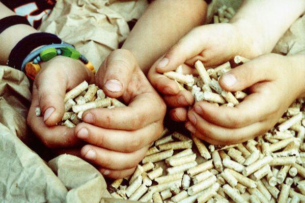 Pellets in Kinderhänden