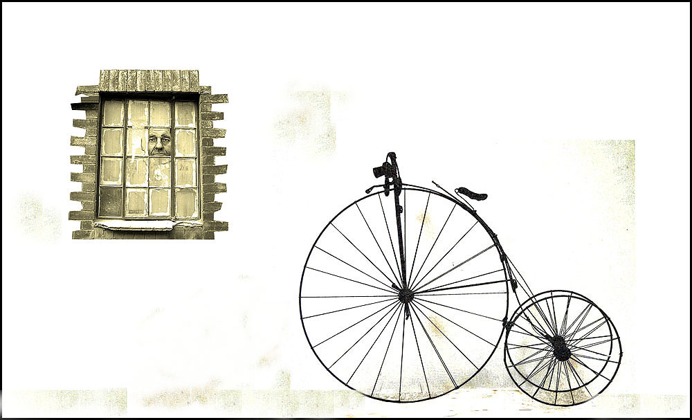 penny farthing and man at window