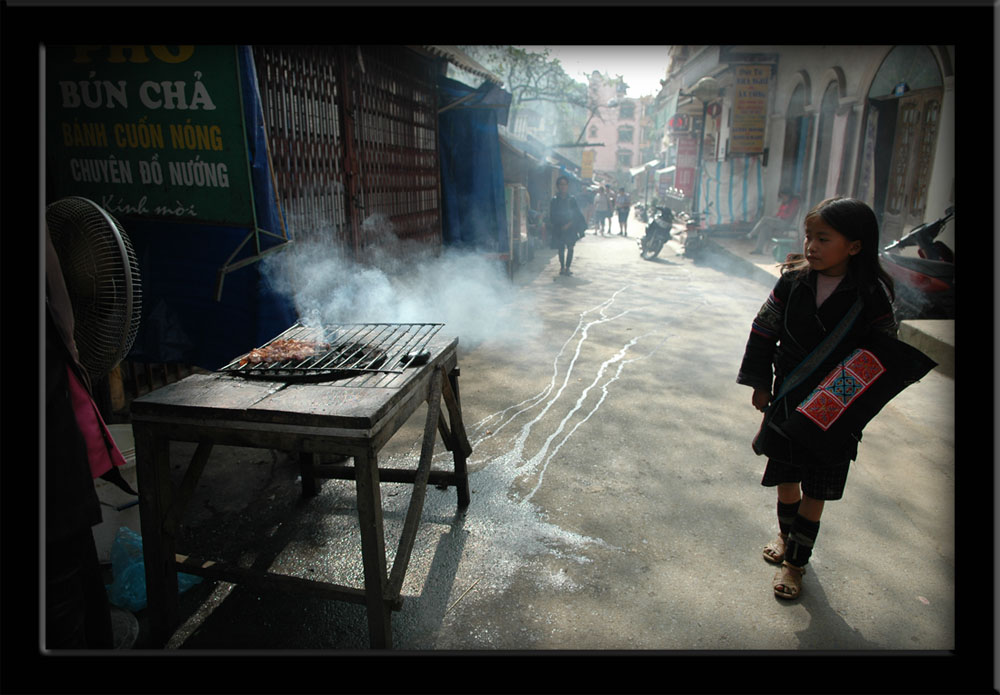 People of Vietnam - Girl and Grill in Sapa