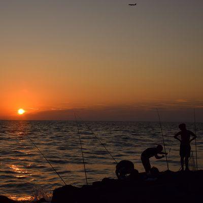 Pescare al tramonto
