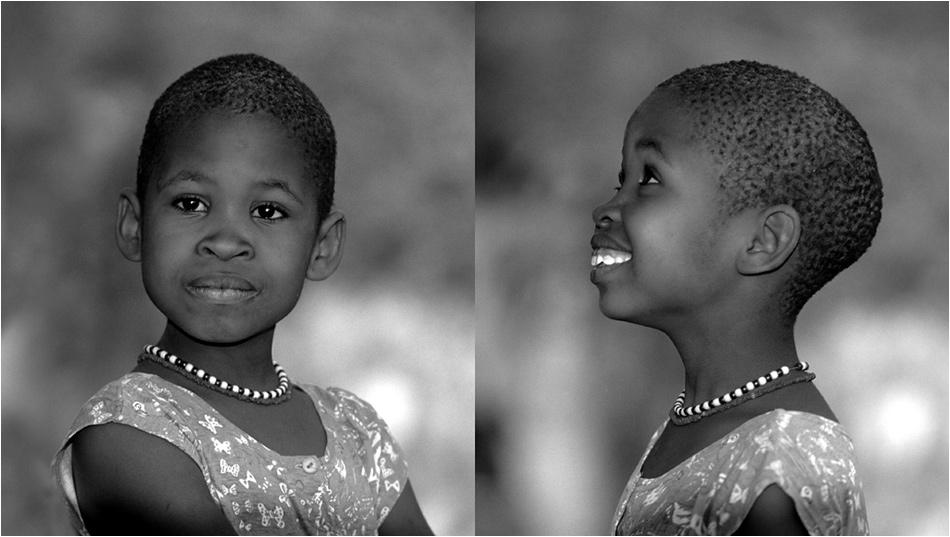 petite Namibienne en face et en profil