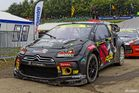 Petter Solberg 's Citroen DS3 PS RX in pitlane
