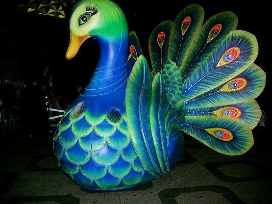 Pfau bei Nacht im Phantasialand 2006