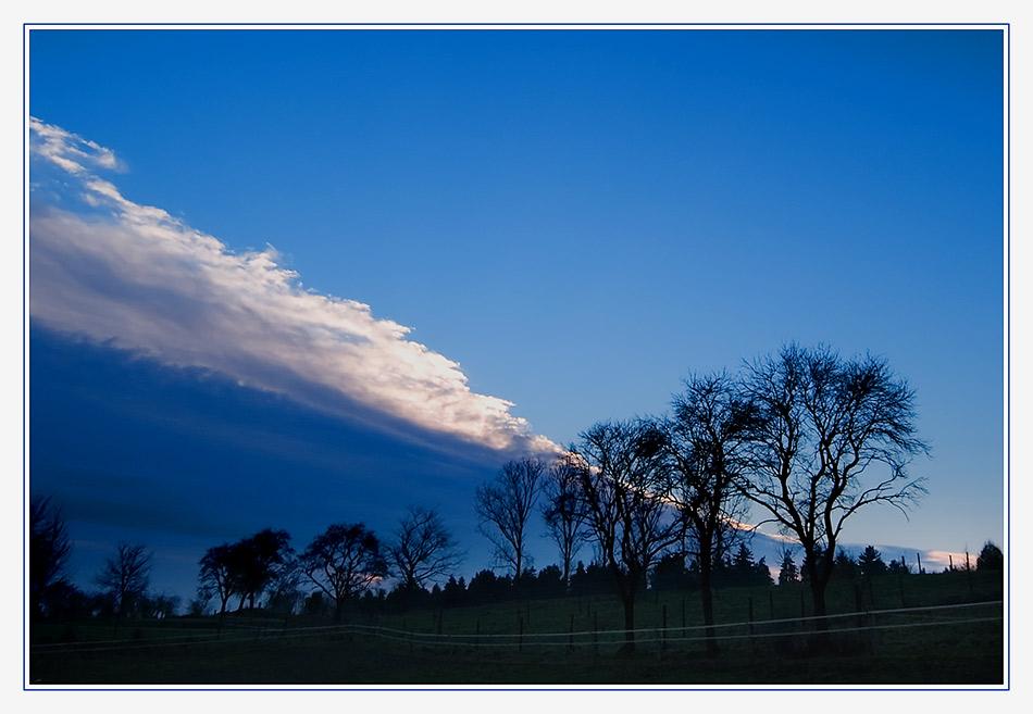 Pferdewiese mit Wolkenband