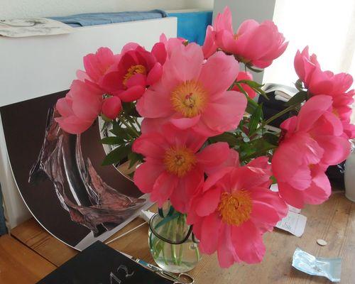 """Pfingstrosen in der Vase und Foto Skulptur """"1zigartig"""" Mané Wunderlich"""