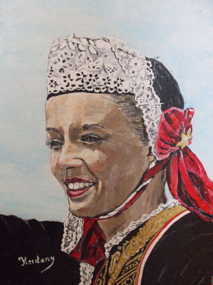 photo d'un de mes tableaux portrait d'une bretonne