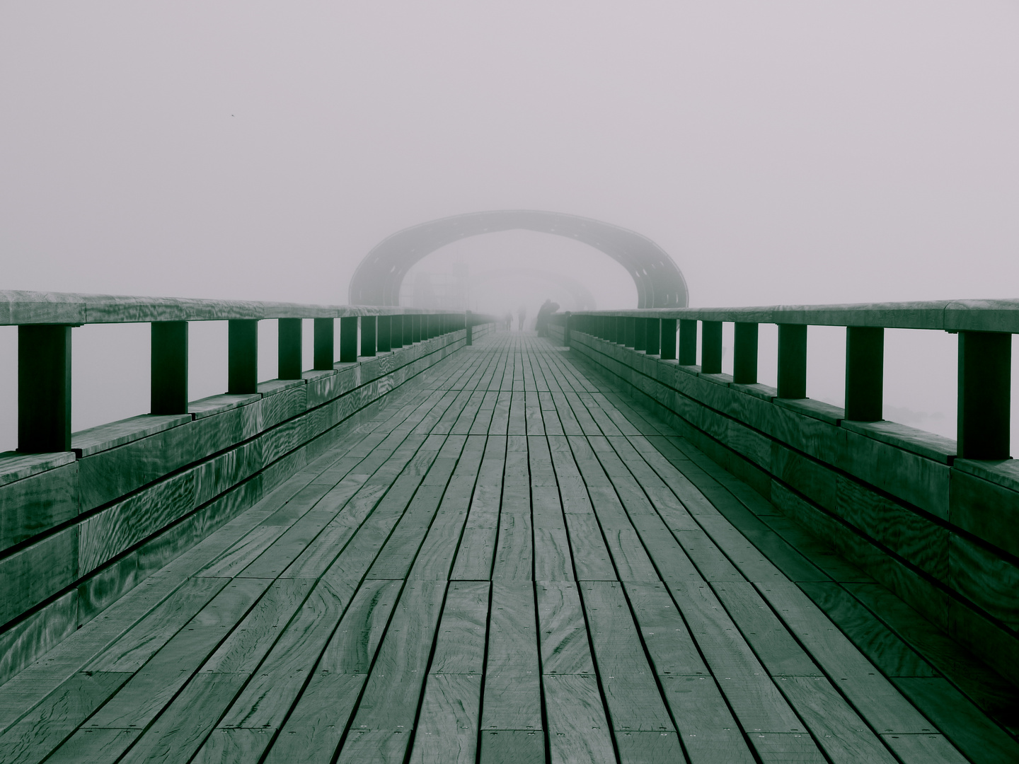Pier in the morning mist