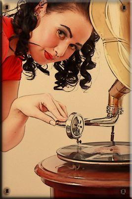 Pin-up Grammophon