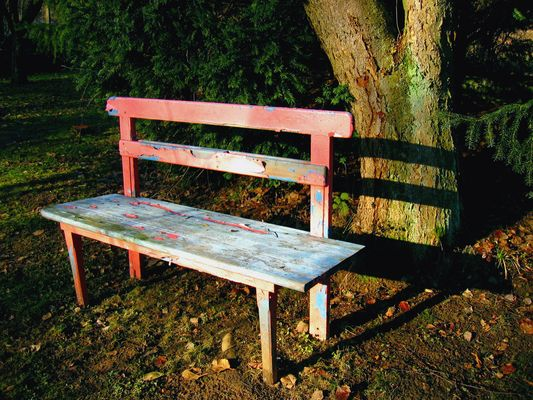 pink wooden bench