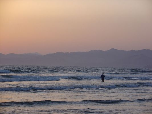 Pismo Beach - Angler im Meer