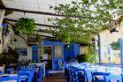 Pizzeria in blau