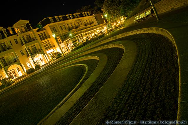 Platz des Frieden in Heringsdorf bei Nacht