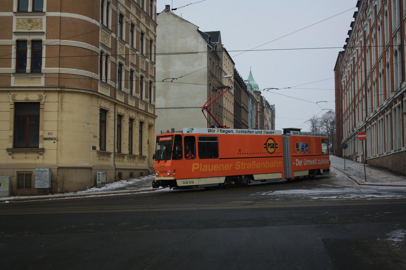 Plauener Straßenbahn - Der Umwelt zuliebe .