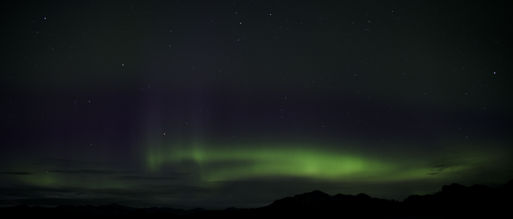 Polarlicht über Skaftafell, Island
