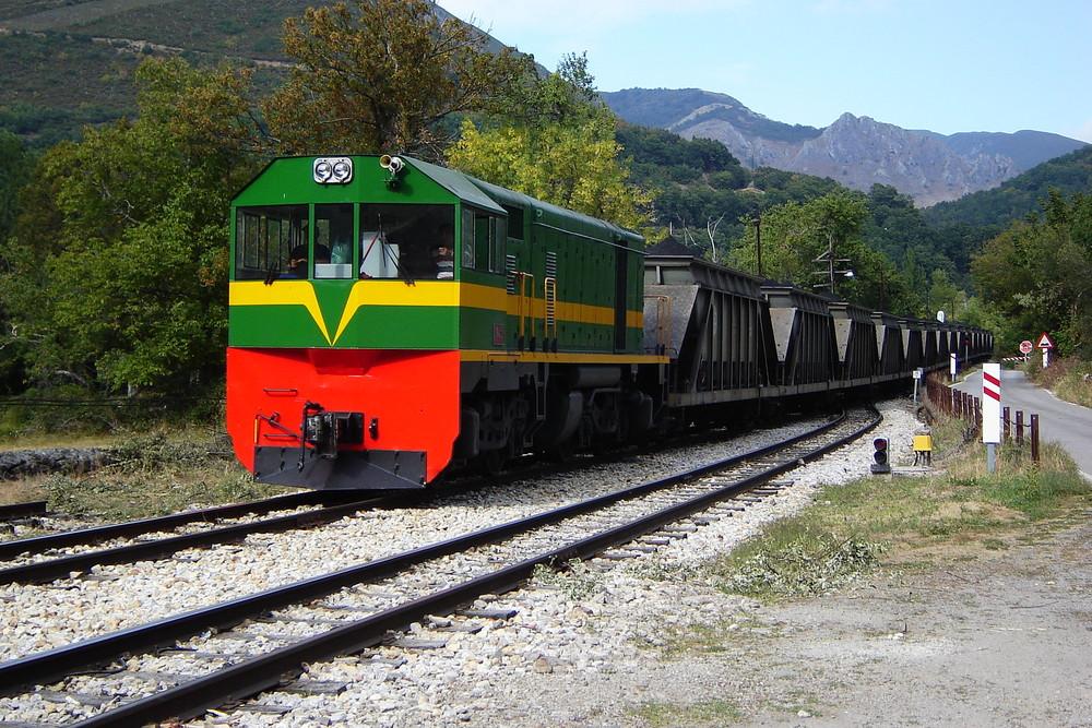 Ponferrada - Villablino railway train at Palacios del Sil. Northern Spain.