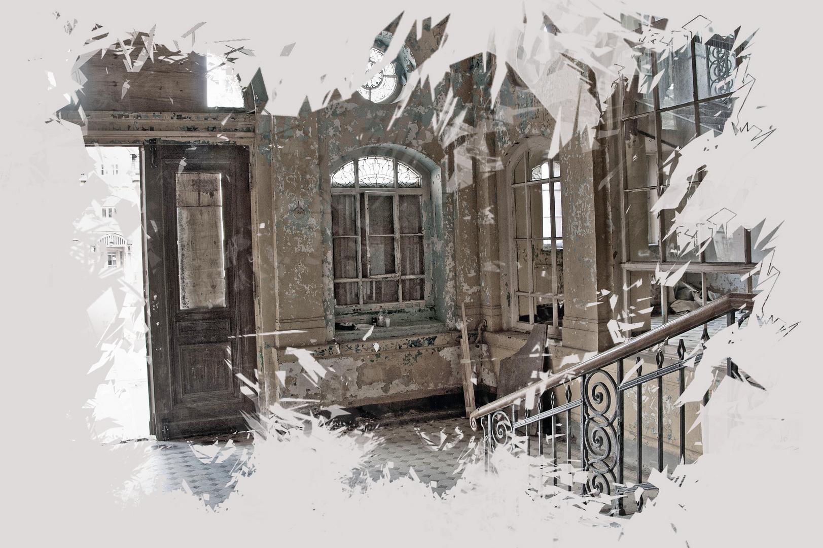 Portal in Beelitz Heilstätten Black and White