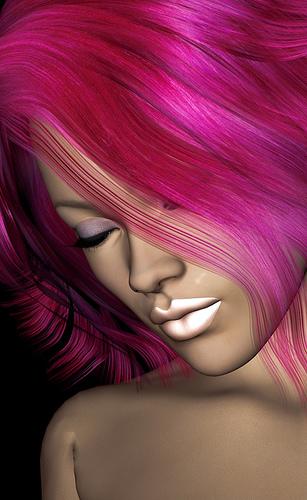 portrait aux cheuveux rose