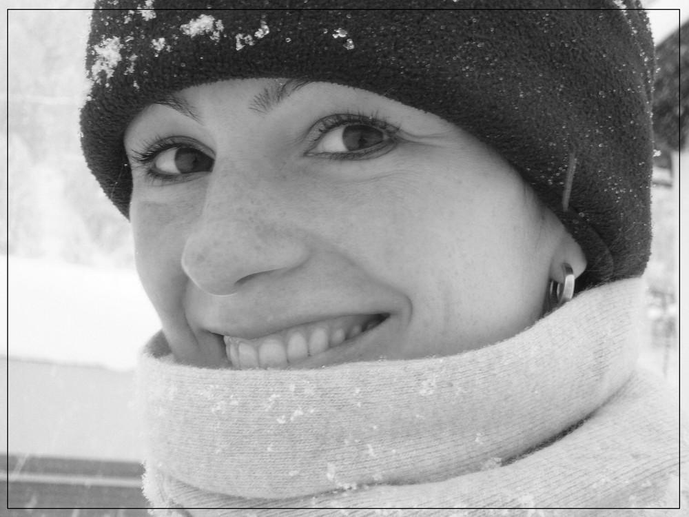 Portrait bei Schneefall