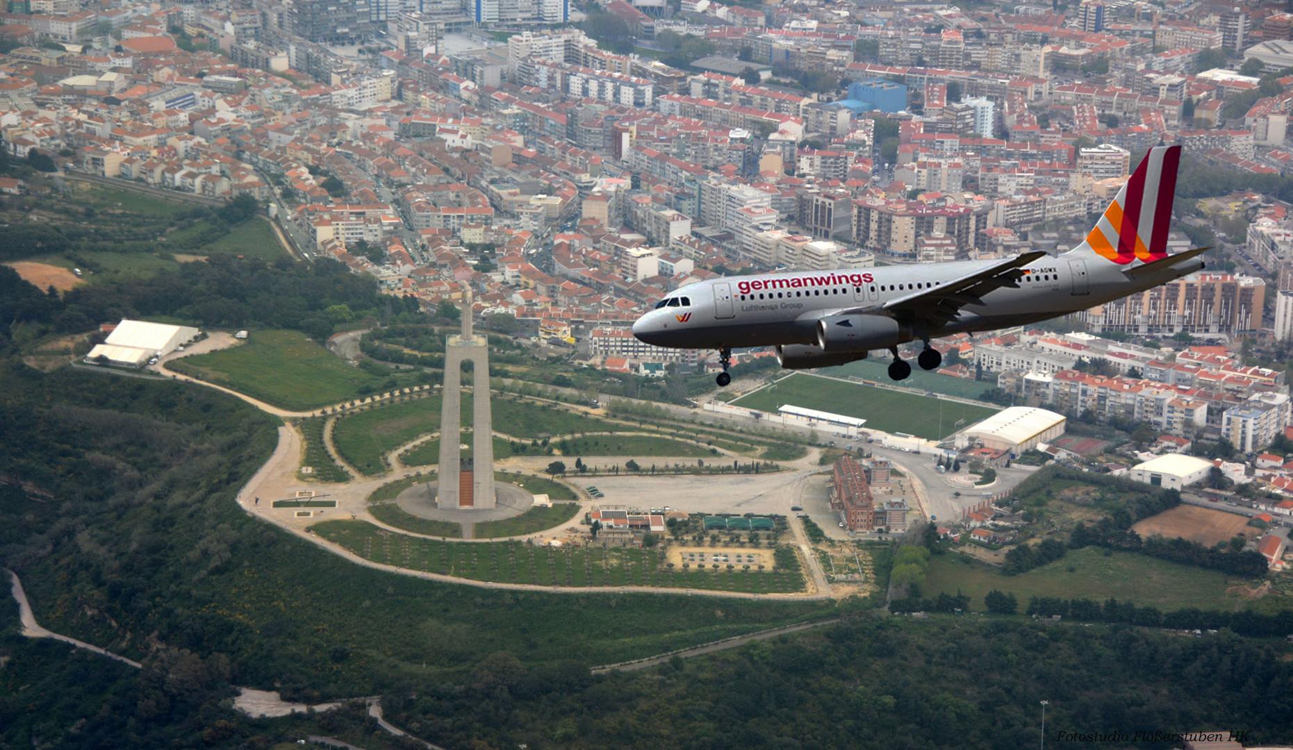 Portugal Landeanflug Lissabon