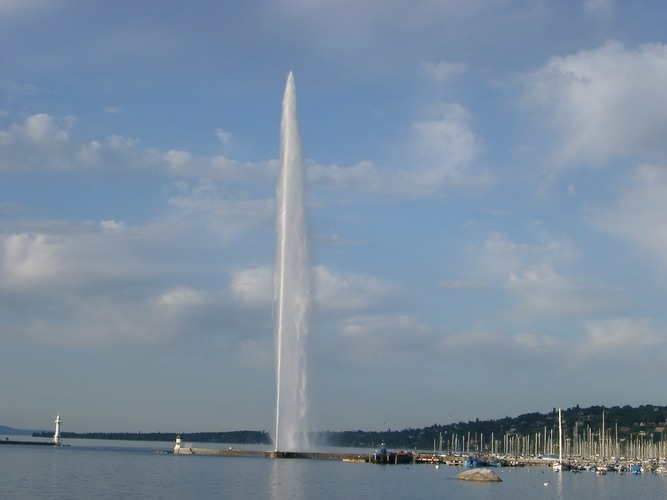 Powerful fountain in Geneve