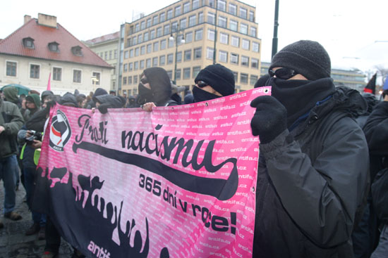 Prag Antifademo gegen Naziaufmarsch