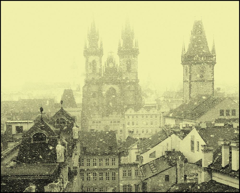 Prague sous la neige