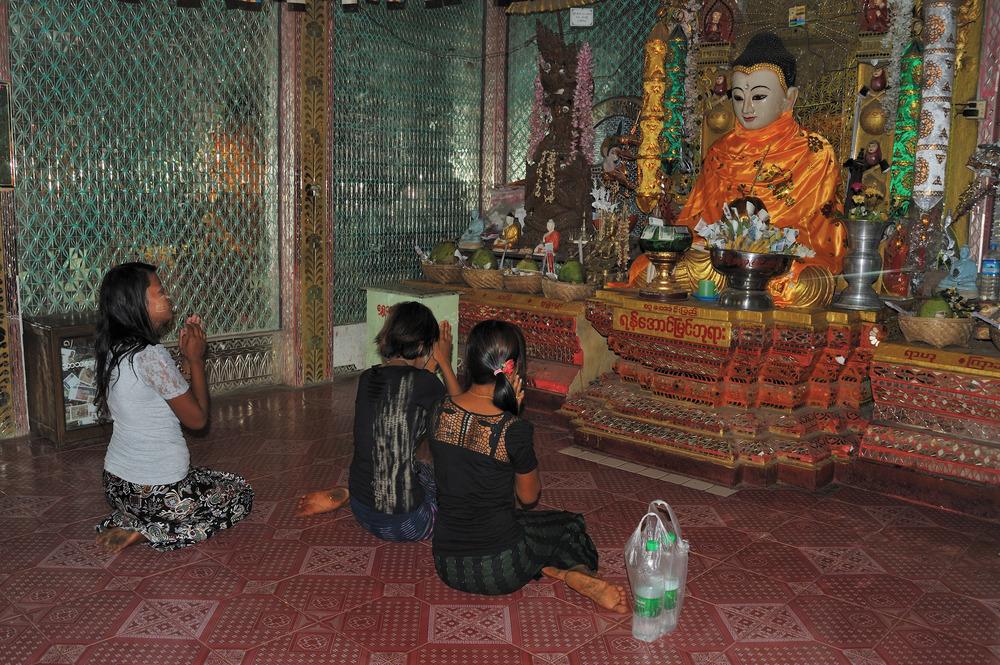 Praying at Mount Popa