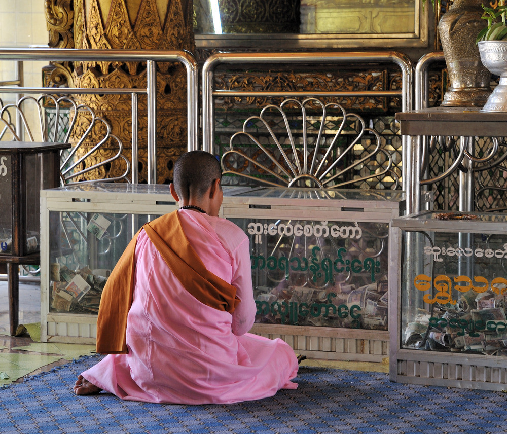Praying in the pagoda