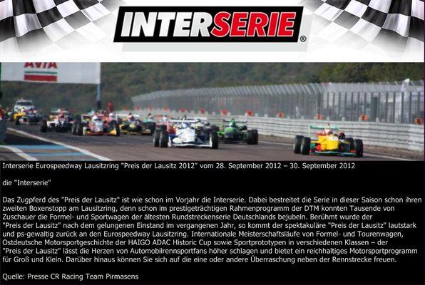 """""""Preis der Lausitz"""" die Interserie"""