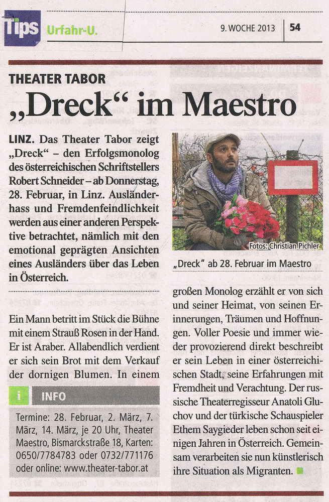 """Premiere """"Dreck"""" am 28.2.2013"""